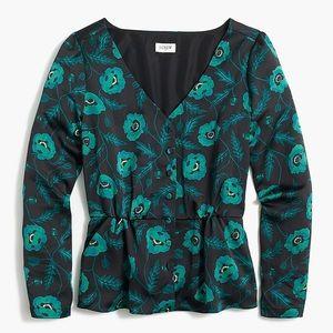 Satin back crepe button front blouse J. Crew